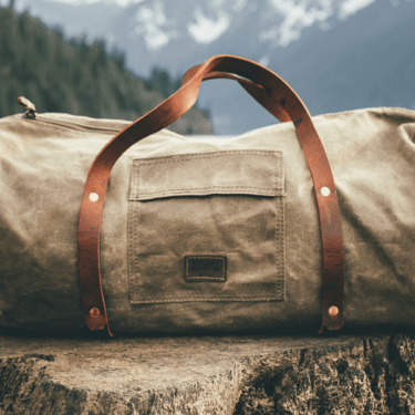 canvas and leather duffle bags