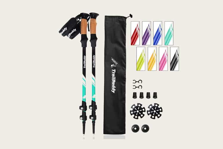TrailBuddy Trekking Poles - 2-pc Pack Adjustable Hiking or Walking Sticks