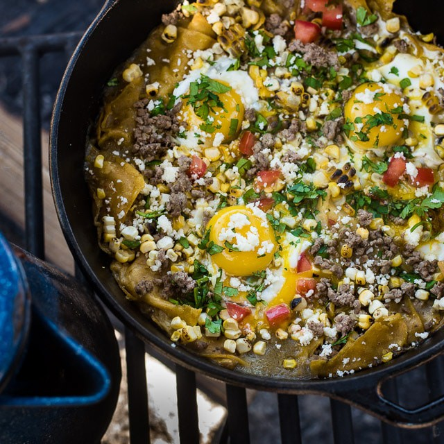 Camping breakfast chilaquiles