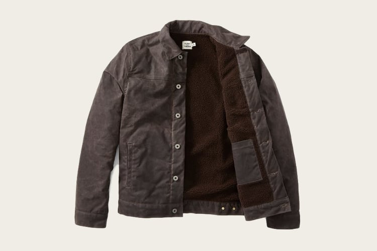 Sherpa Lined Waxed Trucker Jacket