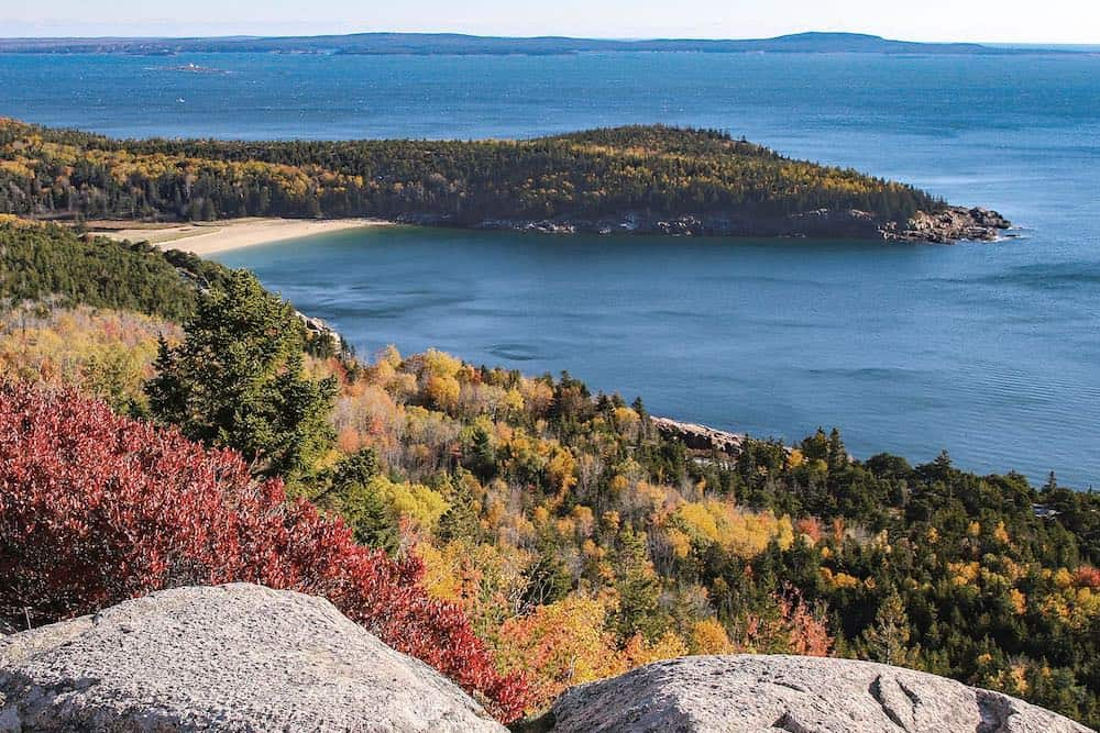 Sand Beach Cove and Great Head from Gorham Mountain