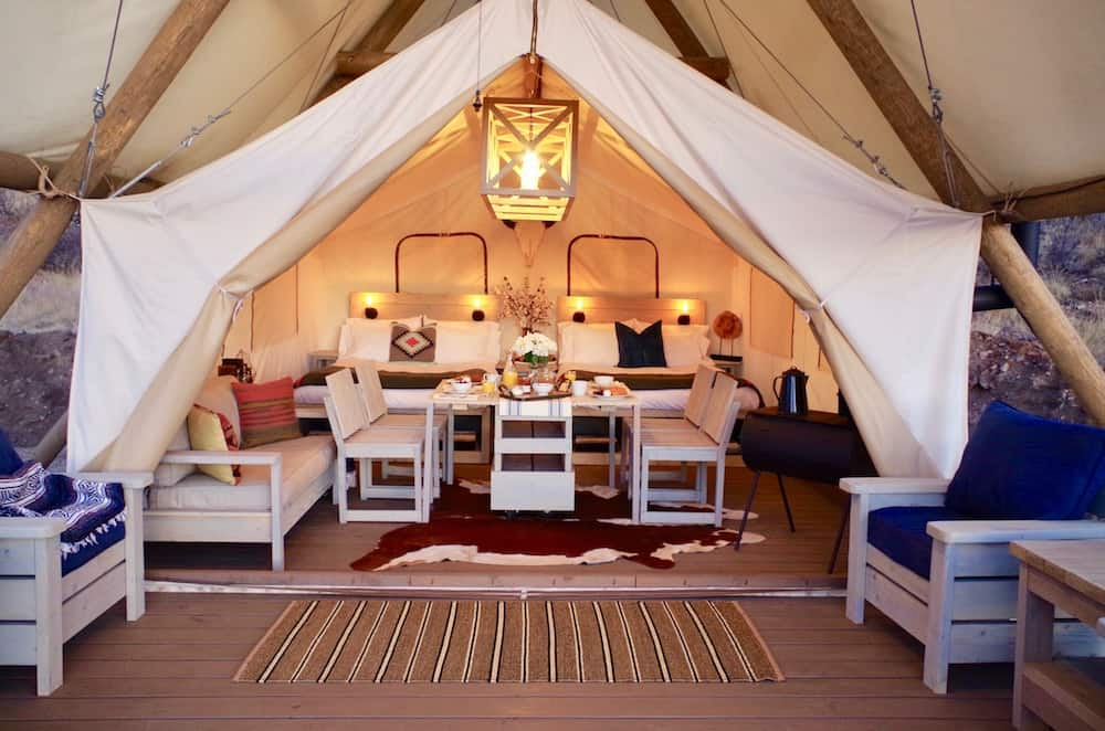 Black Tree Resort Glamping Tent at Dinnertime