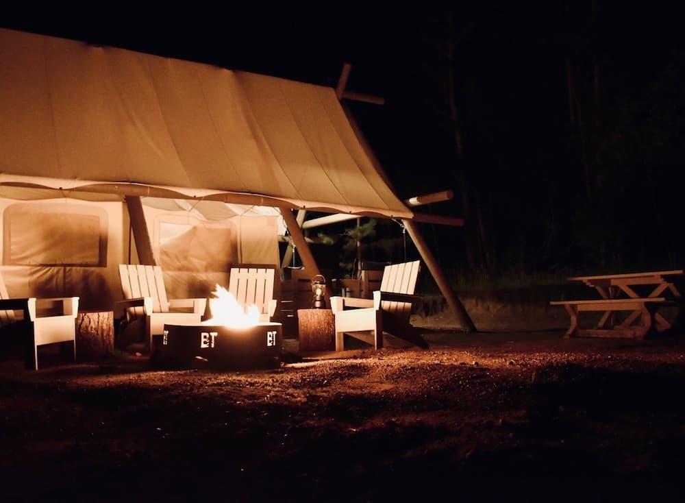 Black Tree Resort campsite at night