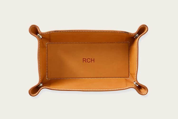 Mark & Graham Baseball Leather Catchall Tray
