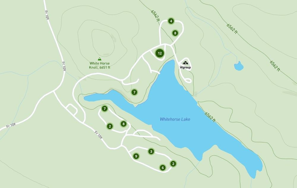 white horse lake campground map