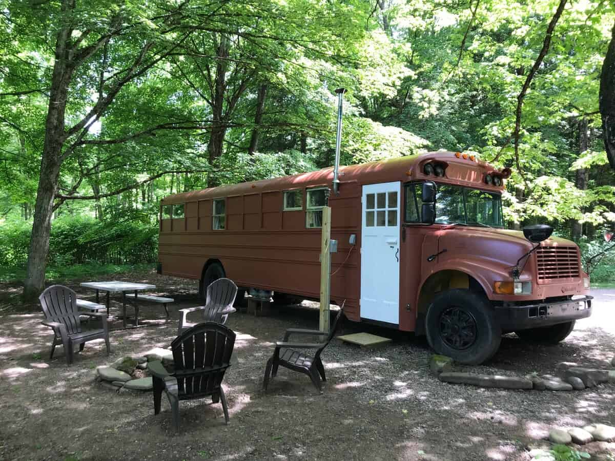 This school bus is one of the best New York Airbnb rentals