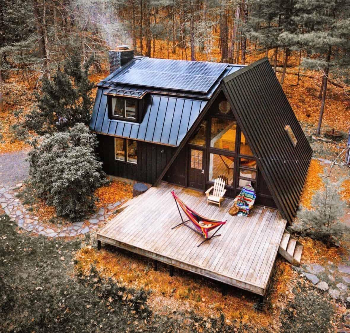 black a-frame cabin