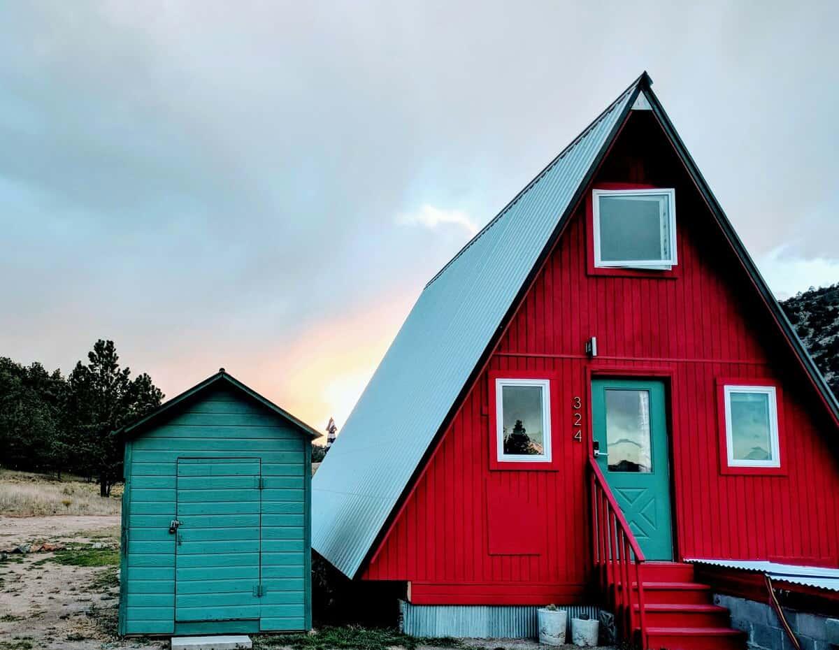 off-grid colorado a-frame cabin