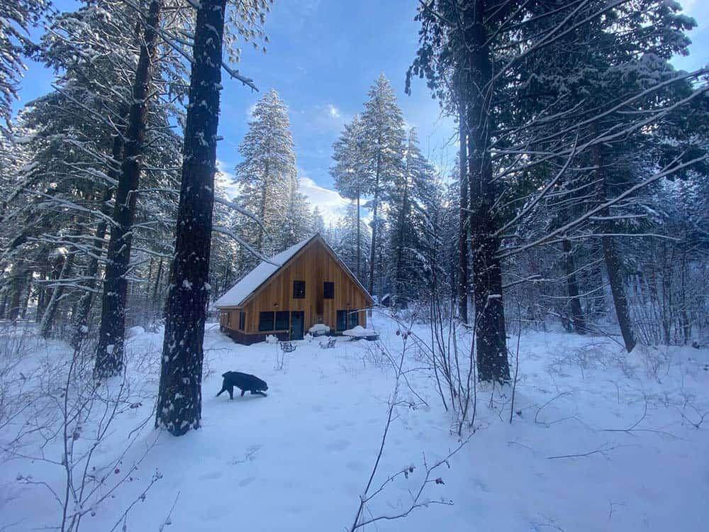 snowy secluded washington cabin