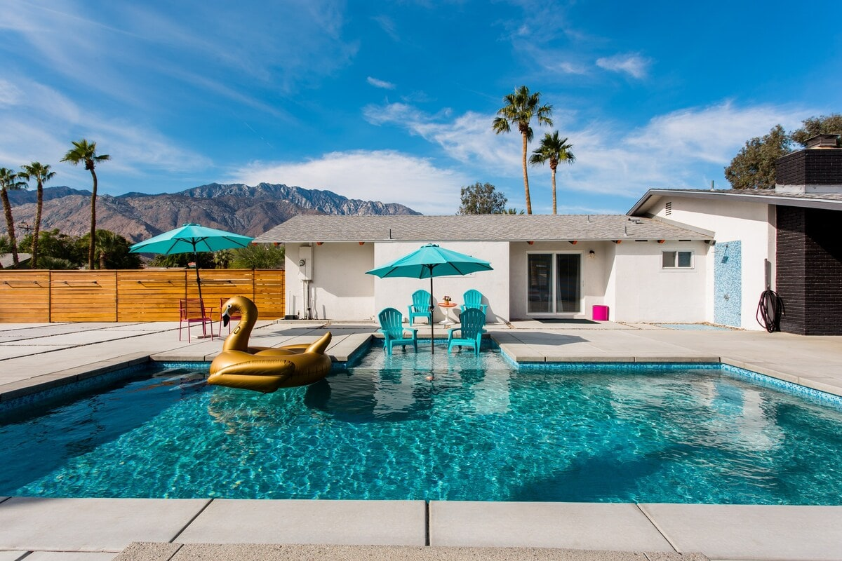 mid-century airbnb with pool