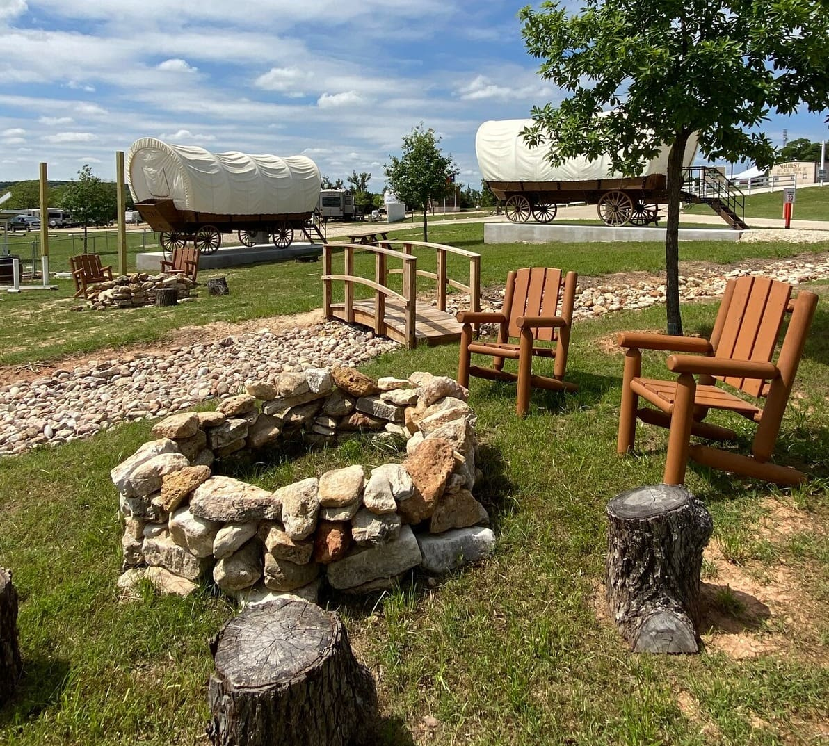 texas glamping in wagons