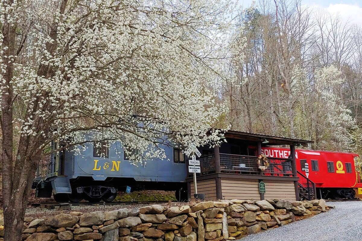 Cabooses on the Tuckasegee River