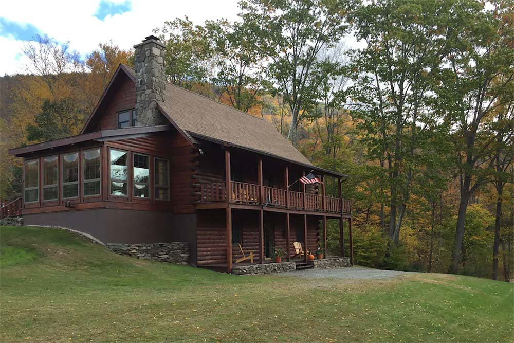 secluded new york cabin autumn