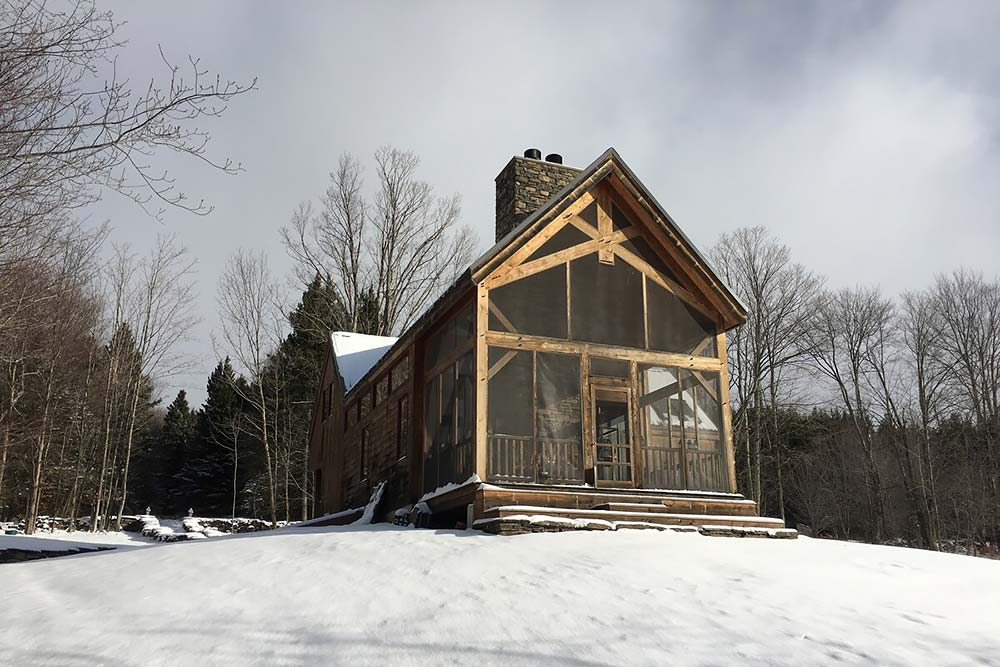 snowy secluded new york cabin