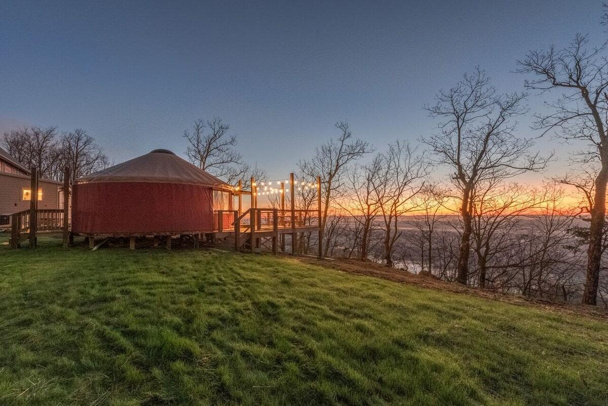 cherry blossom yurt glamping