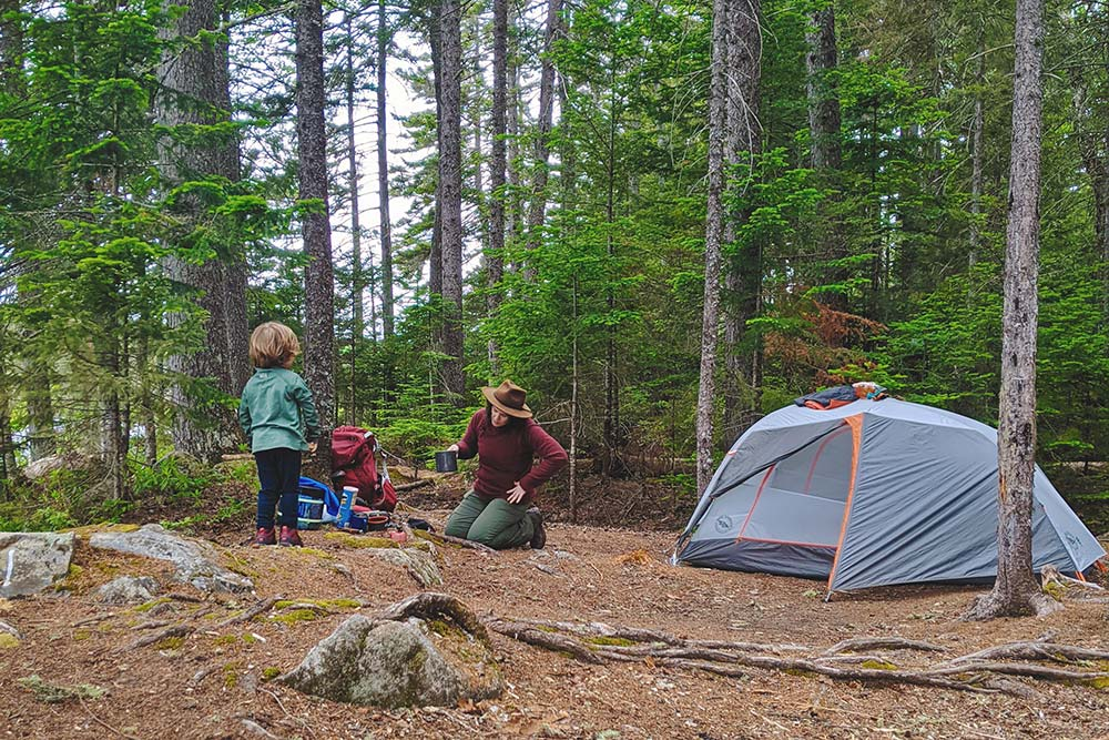 backpacking with kids campsite
