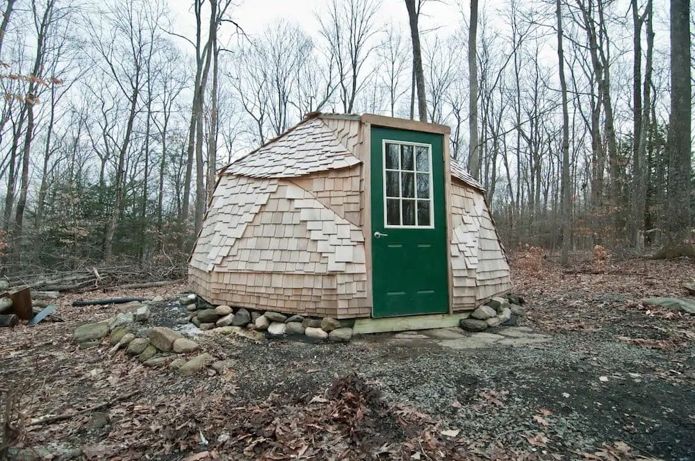 geodesic dome in the woods
