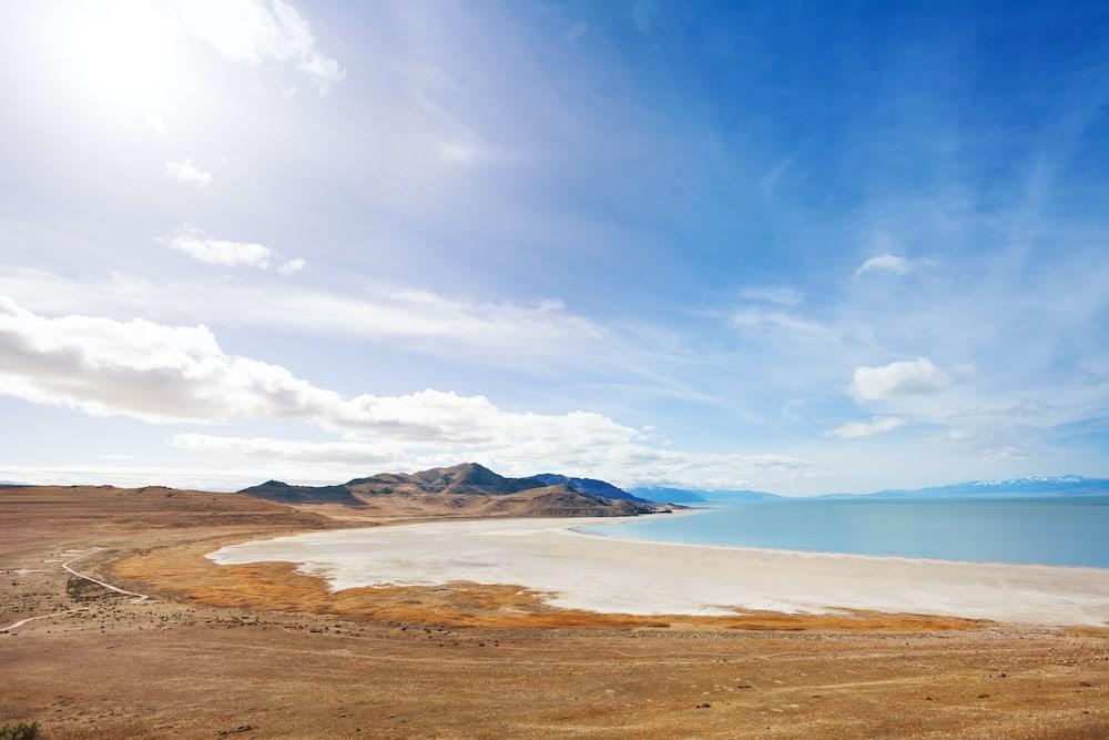 Utah lake camping antelope island