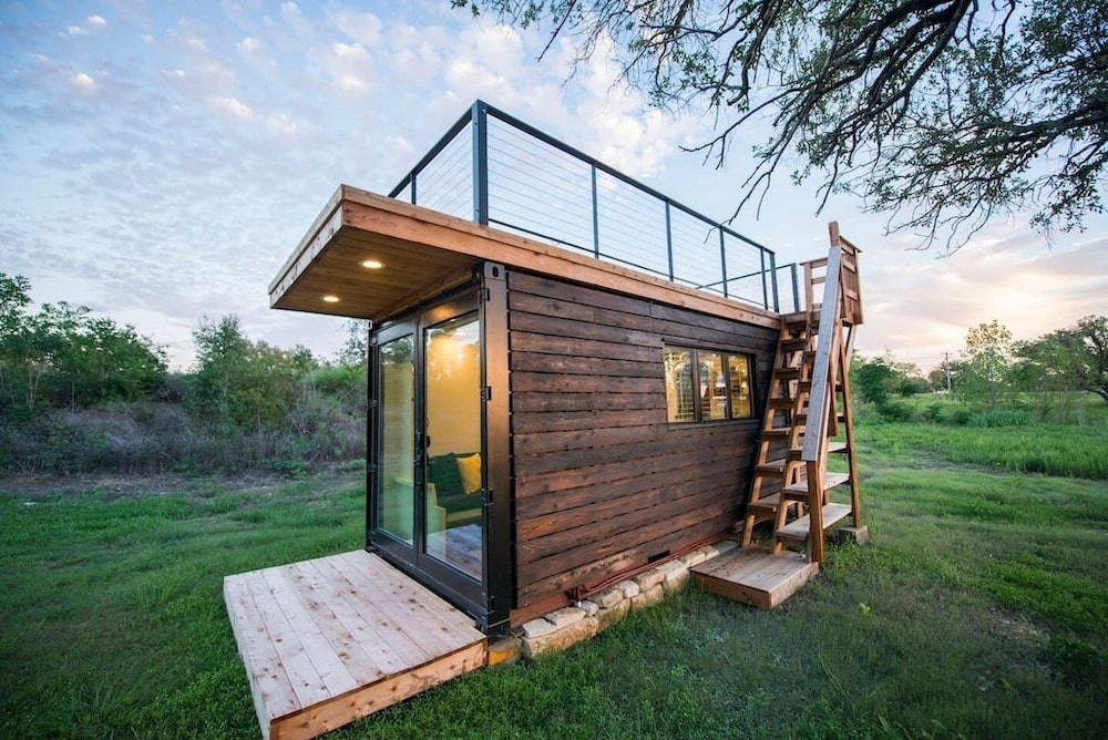 """Yellow & Blue"" Elegant Container Tiny House texas"